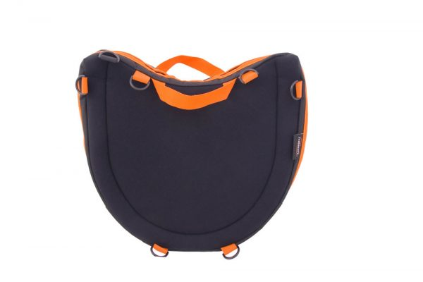 Trabasack Curve Connect wheelchair lap tray and bag with orange trim