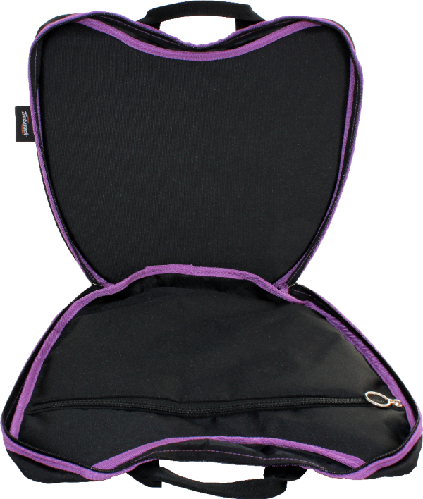 Trabasack Curve wheelchair lap tray and bag with open with purple trim