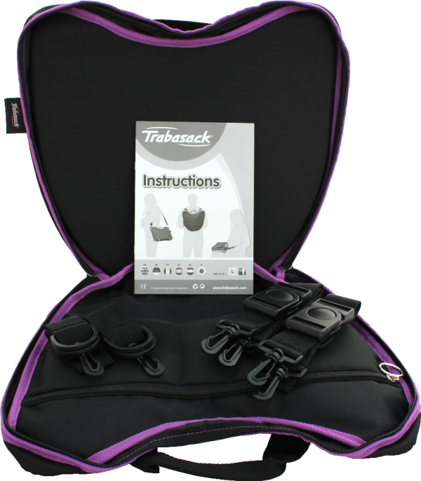 Trabasack Curve wheelchair lap tray and bag with open with straps inside