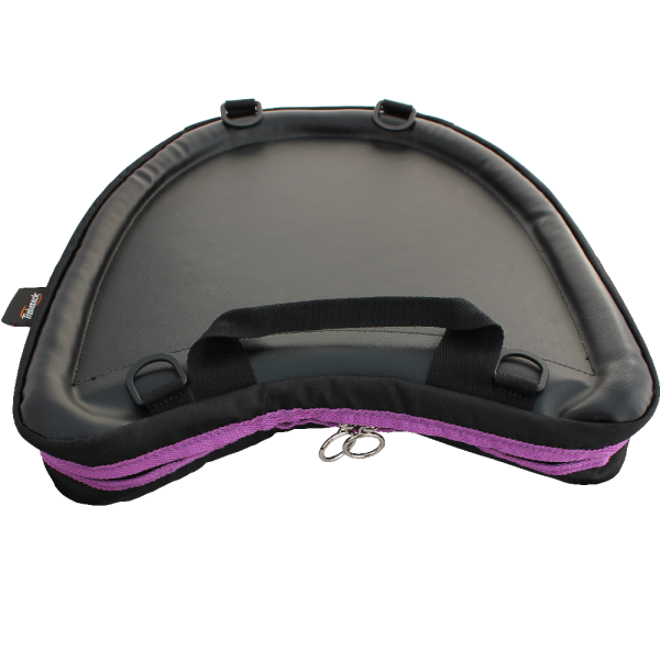 Trabasack Curve wheelchair lap tray and bag with purple trim