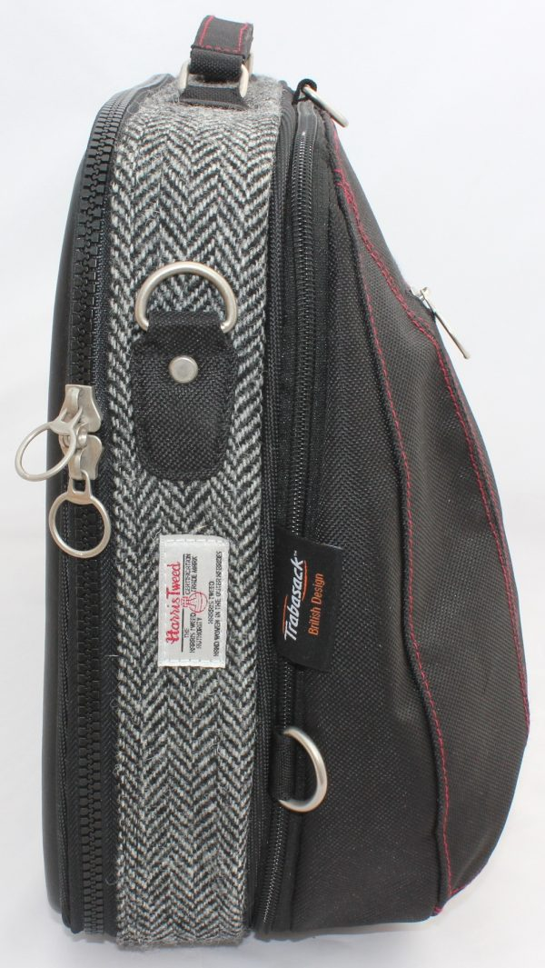 Trabasack Max expandable wheelchair bag tweed fabric on side