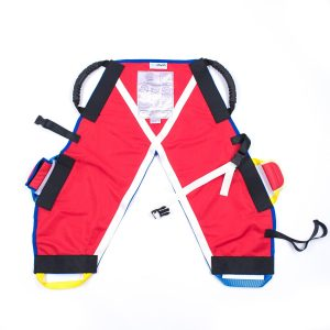 Red ProMove hoist sling for disabled children and young adults laid out