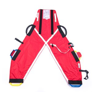 Back of red ProMove hoist sling with head support for disabled children and young adults