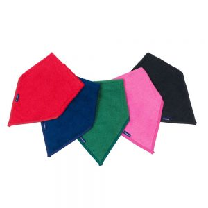 Seenin kerchief bibs for disabled child in red, navy, green, pink and navy