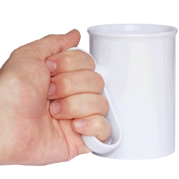 Handsteady drinking aid being held by a hand