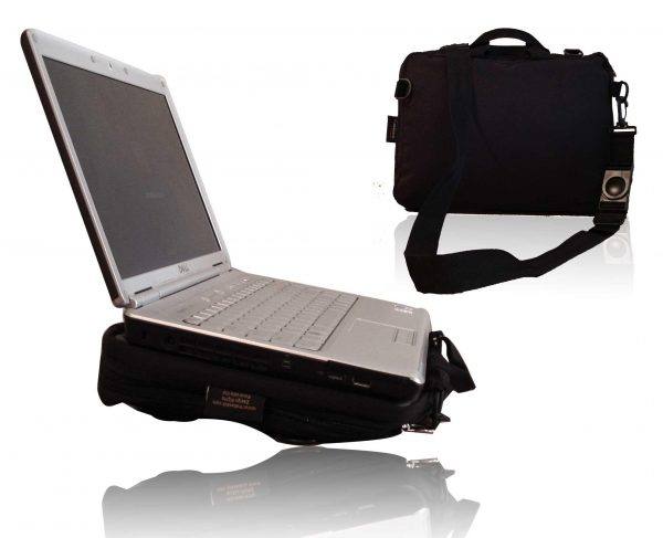 Trabasack Mini wheelchair lap tray and bag with laptop on top