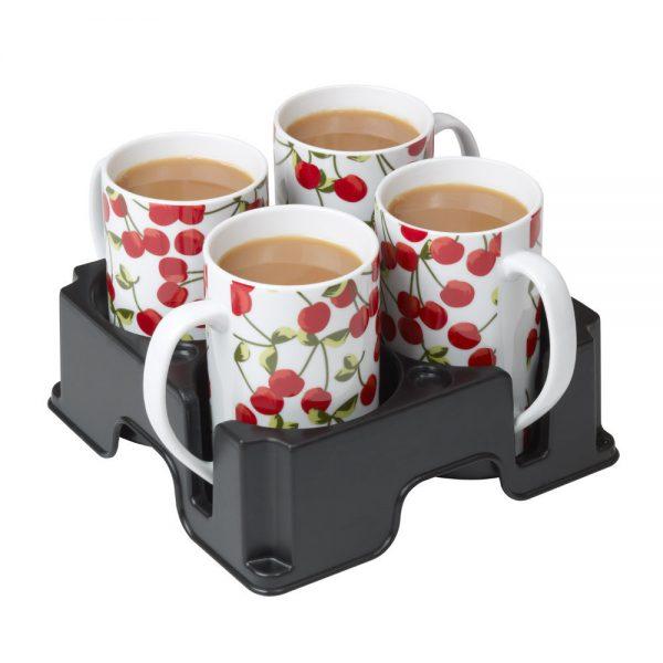 Black Muggi mug and cup holder holding four white mugs