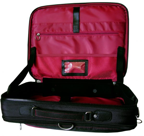 Trabasack Max wheelchair bag open with red inside