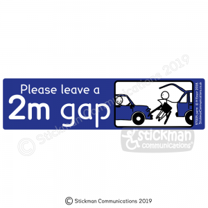 "Disabled car sticker with image showing a blue rectangle with a cartoon of a stickman unable to get its wheelchair out of the boot without damaging another car parked too close. Text reads: ""Please leave a 2m gap"""