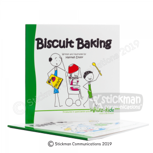 Biscuit Baking book featuring stickman illustrations of a family excitedly preparing to bake biscuits