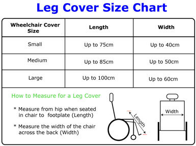 Size chart for Seenin fleece wheelchair leg cover