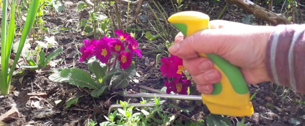 Easi-Grip garden fork being used in flower bed
