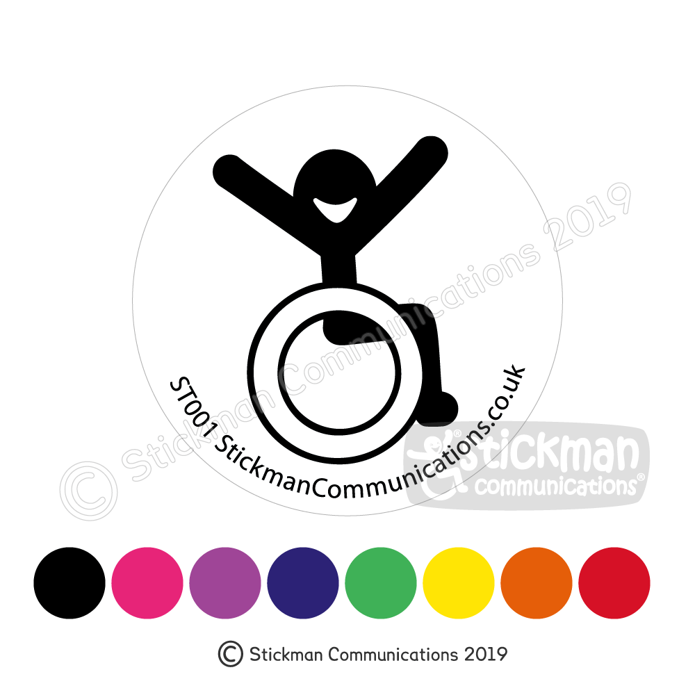Happy accessibility symbol – clear round sticker