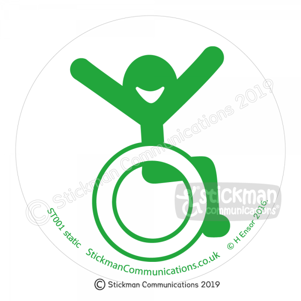 Image show a clear, circular sticker with a smiling stickman in a wheelchair with arms raised in the air with joy - in green