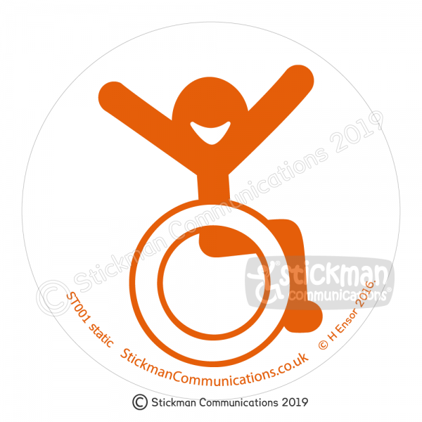 Image show a clear, circular sticker with a smiling stickman in a wheelchair with arms raised in the air with joy - in orange
