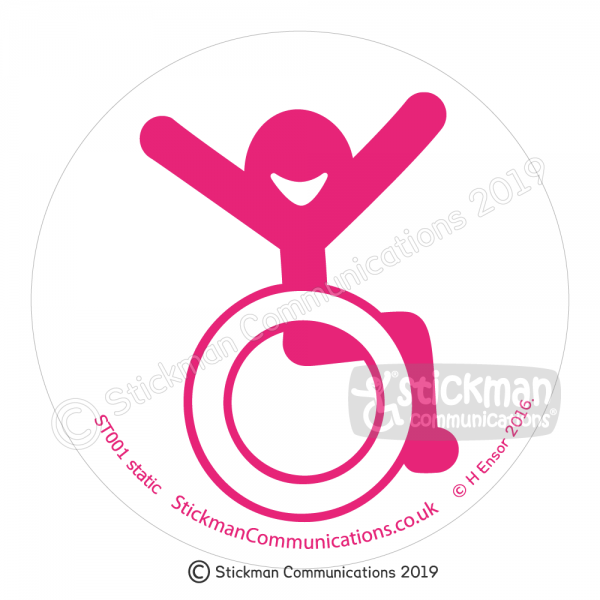 Image show a clear, circular sticker with a smiling stickman in a wheelchair with arms raised in the air with joy - in pink