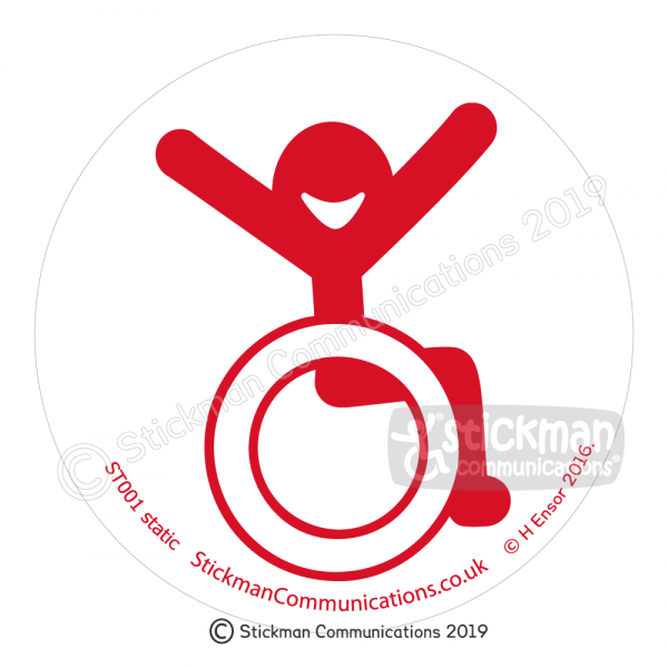 Image show a clear, circular sticker with a smiling stickman in a wheelchair with arms raised in the air with joy - in red