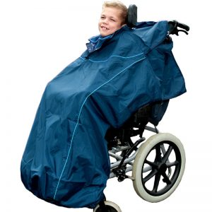 Disabled girl wearing Seenin total waterproof wheelchair cover