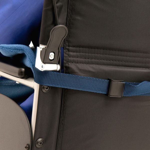 Straps on Seenin fleece wheelchair leg cover going around a wheelchair