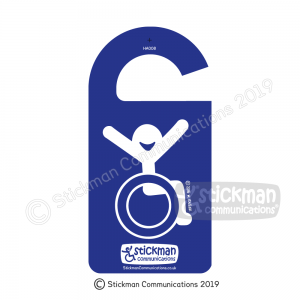 Image shows a hanger for a car rearview mirror, in blue with a smiling stickman, arms raised joyfully in the air.