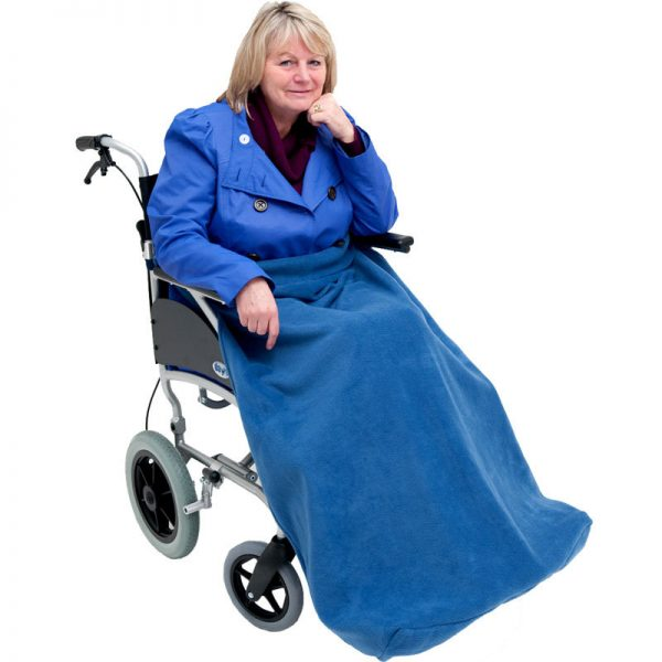 Disabled woman in navy Seenin fleece wheelchair leg cover