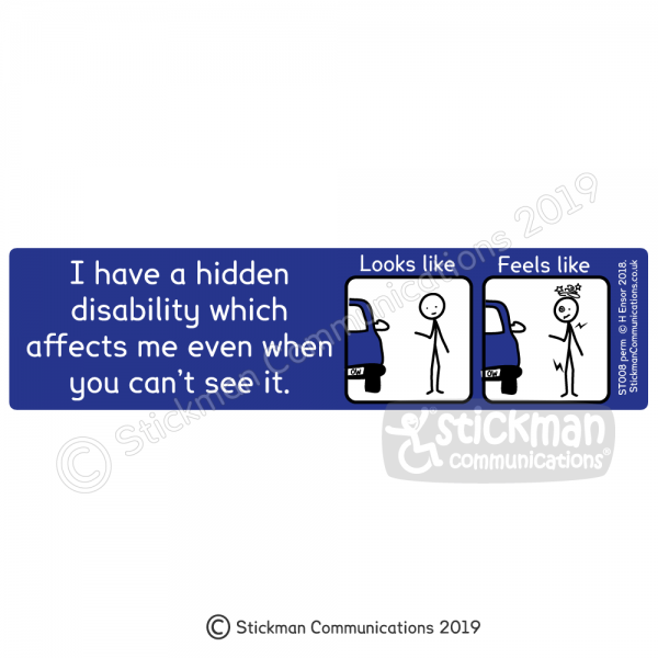 """Image shows a blue rectangle with a cartoon of a stickman looking fine, titled 'looks like' and a cartoon of a stickman dizzy and in pain, titled 'feels like'. Text reads: """"I have a hidden disability which affects me even when you can't see it"""""""