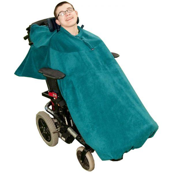Disabled man wearing teal Seenin total fleece wheelchair cover