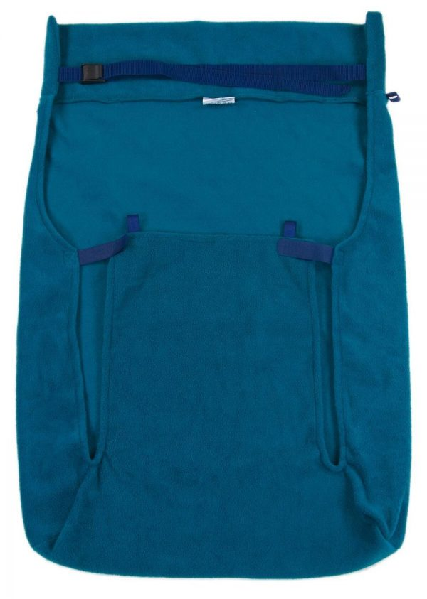Back of teal Seenin fleece wheelchair leg cover