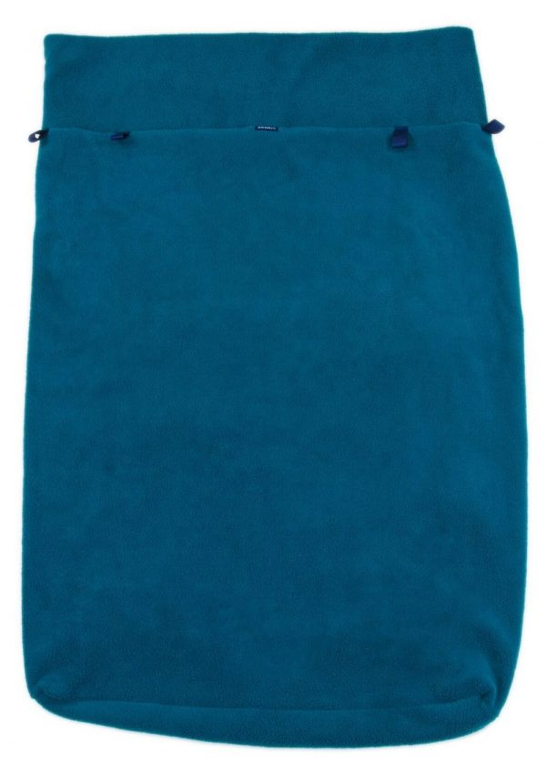 Front of teal Seenin fleece wheelchair leg cover