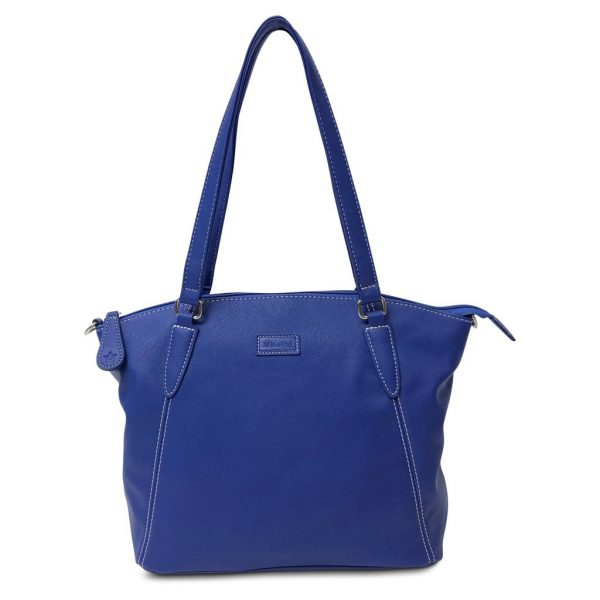 Image is a photograph of the Samantha Renke bag in a striking Cobalt colour, on a white background