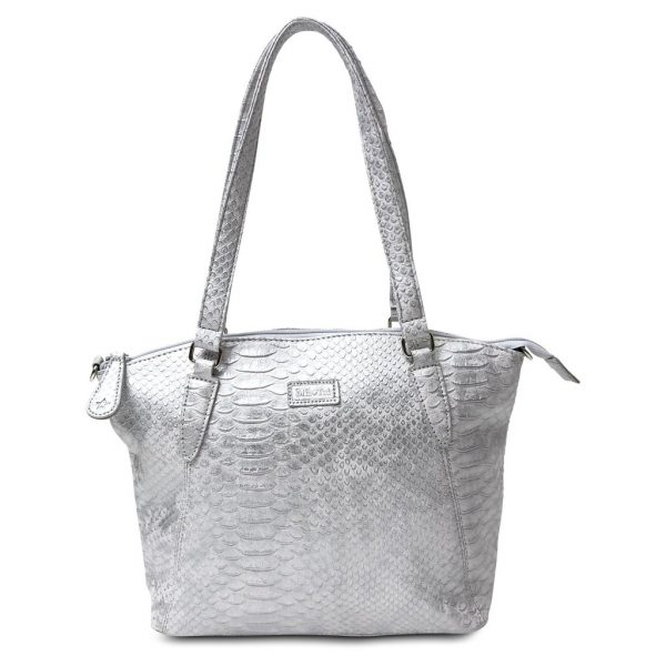 Image is a photgraph of the Samantha Renke handbag in a metallic silver, textured, faux-crocodile design, on a white background