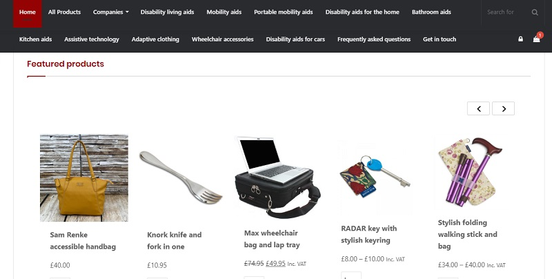 Shop homepage showing menu and featured products