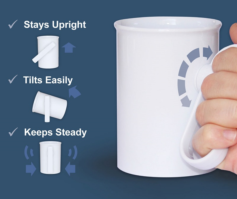 Handsteady drinking aid with graphic to show how it stays upright when tilted