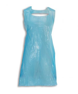 Image is a photograph of a blue, polythene apron on a white background