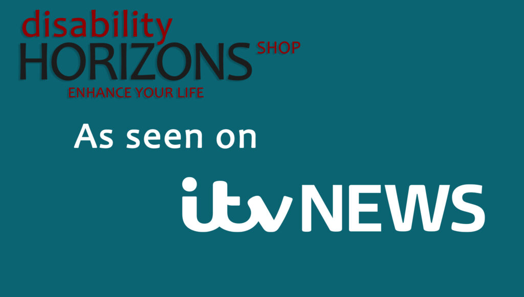 """Image has a blue background with the Disability Horizons logo in the top left corner, with text which reads """"As seen on itv NEWS"""""""